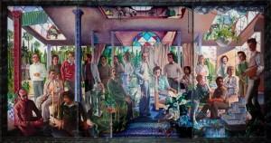 guillermo perez villalta-grupo de personas en un atrio - 1975